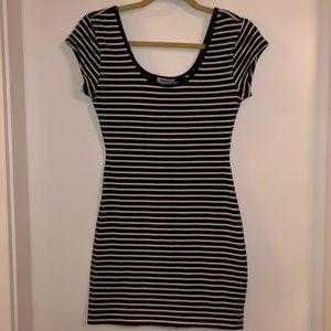 Navy blue and white striped TNA mini dress